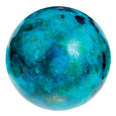 blue sphere: macro shooting of natural mineral stone - sphere from blue chrysocolla gemstone isolated on white background