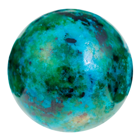 macro shooting of natural mineral stone - ball from green and blue chrysocolla gemstone isolated on white background