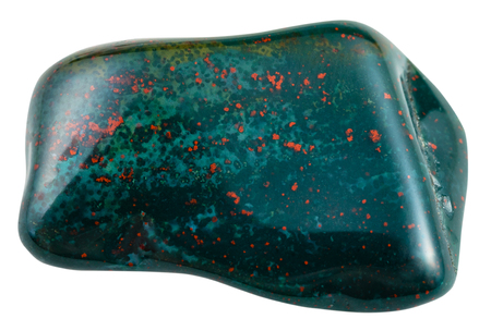tumbled: macro shooting of natural mineral stone - tumbled heliotrope (bloodstone, green jasper or chalcedony with red inclusions of hematite) gemstone isolated on white background