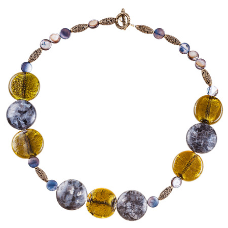 labradorite: round necklace from labradorite and abalon gemstones, colored glass and bronze beads isolated on white background