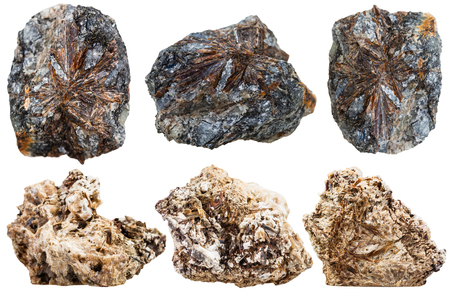 aggregates: set of crystalline Fibrous aggregates of astrophyllite and lamprophyllite natural mineral stones isolated on white background