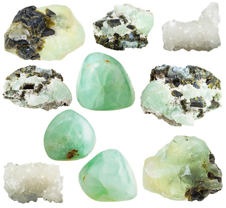 gemmology: set of various prehnite natural mineral stones and gemstones isolated on white background