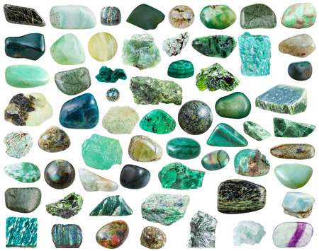 green gemstones: set of green natural mineral stones and gemstones isolated on white background
