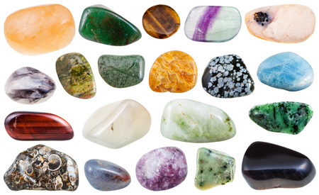 polished: set of various polished natural mineral stones and gemstones