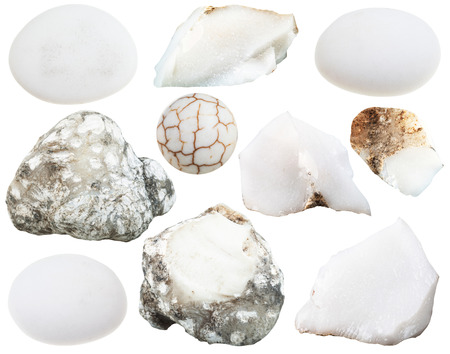tumbled stones: set of various cacholong (white milky opal) natural mineral stones and gemstones isolated on white background