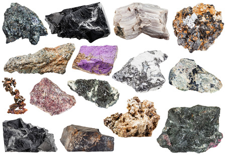 sphalerite: set of various natural mineral stones and rocks Stock Photo