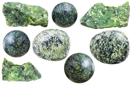 tumbled stones: set of various serpentine natural mineral stones and gemstones isolated on white background