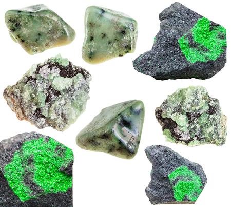green gemstones: set of various green garnets (grossular, demantoid, uvarovite) natural mineral stones, crystals and gemstones isolated on white background