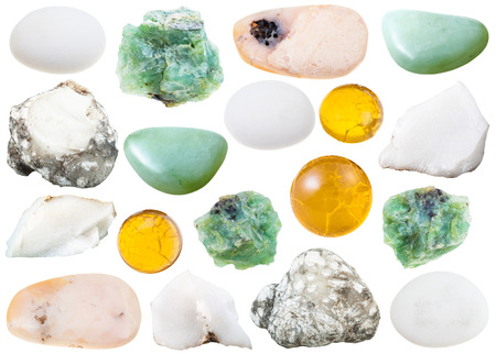 opal: set of various opal natural mineral stones and gemstones isolated on white background