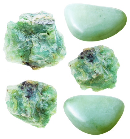 tumbled stones: set of green opal natural mineral stones and gemstones isolated on white background Stock Photo