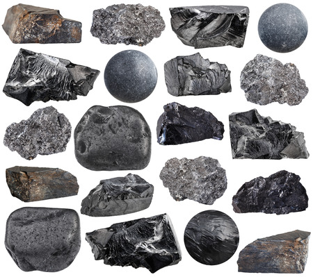 lignite: set of various carbon (anthracite, shungite, graphite, coal, jet lignite) natural mineral stones, rocks and gemstones isolated on white background