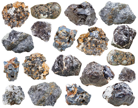sphalerite: set of various galenite and sphalerite natural mineral stones and crystals isolated on white background
