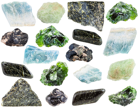 spinel: set of various Diopside natural mineral stones and gemstones isolated on white background