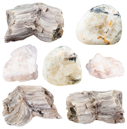 barium: set of various baryte (barite) natural mineral stones and gemstones isolated on white background Stock Photo