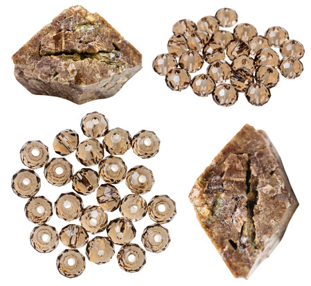 zircon: set of zircon crystals and beads from zircon natural mineral stones and gemstones isolated on white background Stock Photo