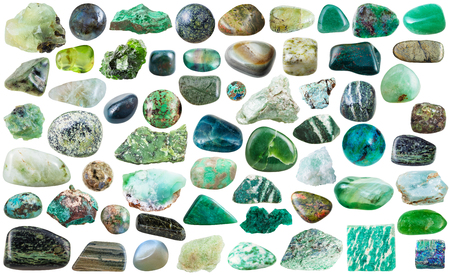 beryl: set of green natural mineral stones and gems isolated on white background