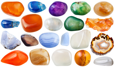 sard: set of various transparent agate natural mineral stones and gemstones isolated on white background