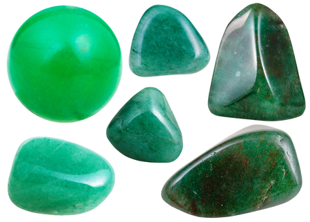 aventurine: set of various green Aventurine natural mineral stones and gemstones isolated on white background Stock Photo