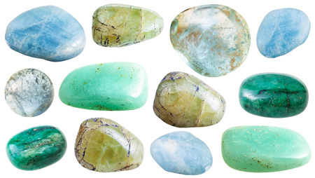 set of various beryl (aquamarine, beril, emerald) natural mineral stones and gemstones isolated on white background