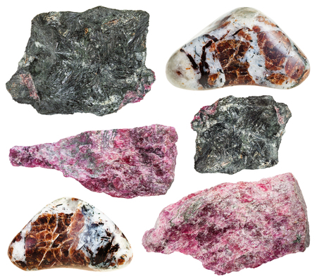 saami: set of various eudialyte natural mineral stones, rocks and gemstones isolated on white background Stock Photo