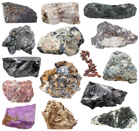 magnetite: set of various natural mineral stones and rocks Stock Photo