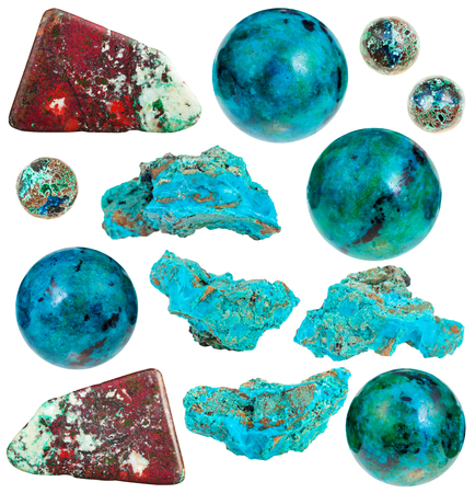 cuprite: set of various chrysocolla natural mineral stones and gemstones isolated on white background Stock Photo