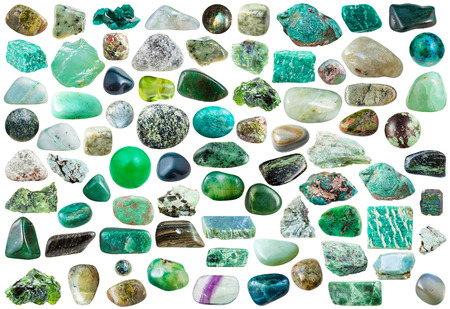 green gemstones: set of green mineral stones, crystals and gemstones isolated on white background Stock Photo