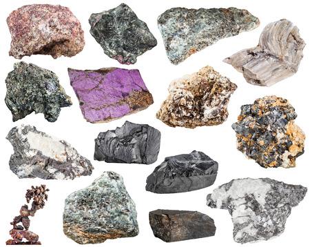 sphalerite: set of various natural mineral stones and rocks - baryte, barite, bismuthinite, bismuth, molybdenite, glaucophane, jet, lignite, shungite, shungit, nepheline, galena, etc isolated on white background