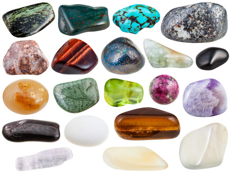 magnetite: set of various polished natural mineral stones and gemstones