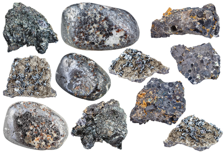 magnetite: set of various magnetite natural mineral stones, ore, rocks and gemstones isolated on white background
