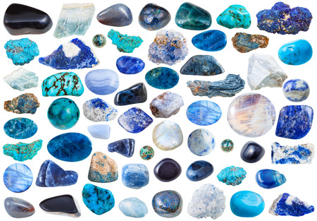 beryl: set of blue natural mineral stones and gems isolated on white background