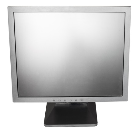 cut out device: direct view of old used black LCD monitor isolated on white background Stock Photo