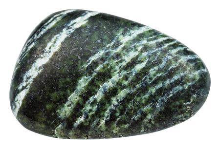 fotografía macro de la piedra mineral natural - cayó la piedra preciosa de crisotilo (asbesto verde, el amianto serpentina, amianto blanco) aislado en el fondo blanco Foto de archivo