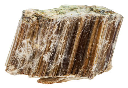 macro shooting of natural mineral stone - piece of brown asbestos isolated on white background