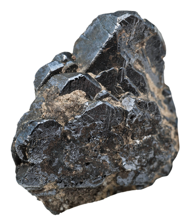 macro shooting of natural mineral stone - specimen of Ilmenite ( titanium-iron oxide, titanium ore) isolated on white background