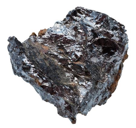 specimen: macro shooting of natural mineral stone - specimen of ilmenorutile (Nb-bearing rutile, titanium ore) isolated on white background Stock Photo