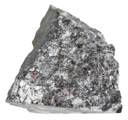 antimony: macro shooting of natural mineral stone - specimen of stibnite (antimonite, antimony ore) isolated on white background