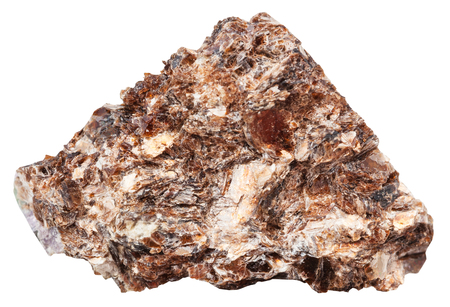 macro shooting of natural mineral stone - rock of Phlogopite (magnesium mica) isolated on white background