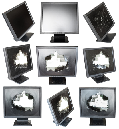 splintered: set of old black LCD monitors with damaged screens isolated on white background Stock Photo