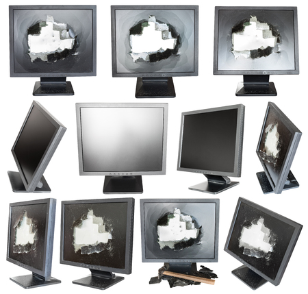 cut out device: set of old black LCD monitors with broken screens isolated on white background