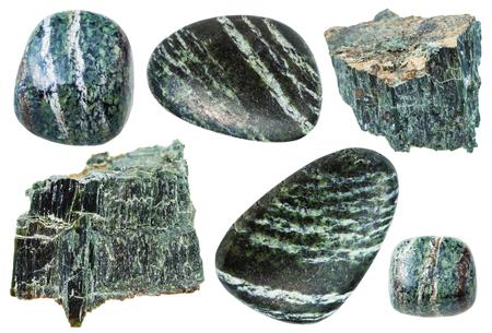 green gemstones: set of various natural mineral stones - Chrysotile (green asbestos, serpentine asbestos, white asbestos) gemstones isolated on white background