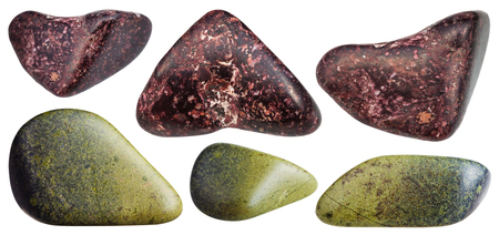 green gemstones: set of various natural mineral stones - polished red Piemontite (Manganepidot and manganesian epidote) and green Epidote gemstones isolated on white background