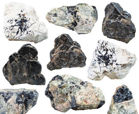 set of various natural mineral stones - black Ilmenite ( titanium-iron oxide, titanium ore) gemstones isolated on white background