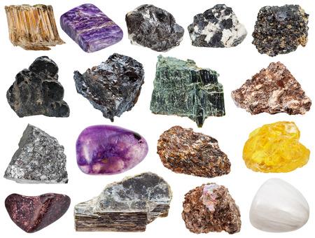 sphalerite: set of various natural mineral stones - sphene, muscovite, stibnite, antimonite, asbestos, chrysotile, amosite, ilmenorutile, rutile, ilmenite, sphalerite, charoite, mica, phlogopite, corundum, etc