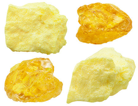 set of various natural mineral stones - specimens of native Sulfur (sulphur, brimstone) stone isolated on white background