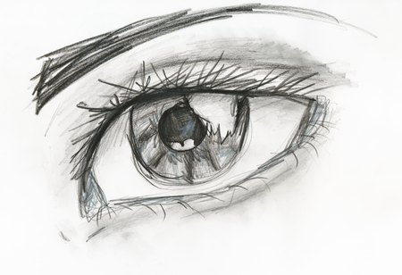 woman close up: childs drawing - black and white picture of human eye close up hand drawing by pencil Stock Photo