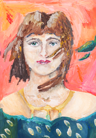 green eyes: childs painting - Portrait of a young woman with green eyes hand painted by watercolor aquarelle gouache