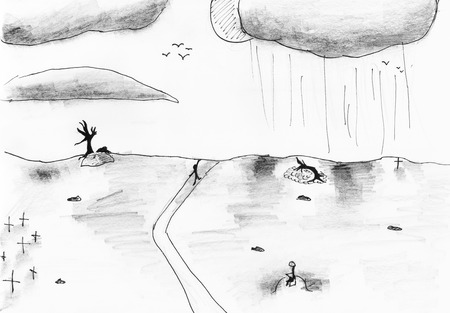 devastated land: childs drawing - black and white landscape of devastated land hand drawing by lead pencil and black pen