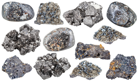 magnetite: set of magnetite mineral tumbled stones, rocks and crystals isolated on white background