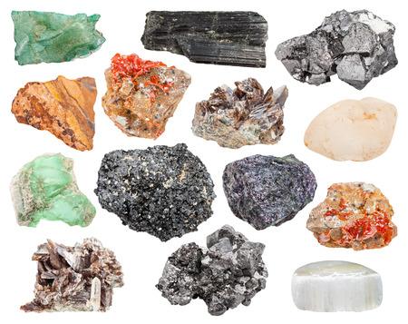 magnetite: set of different mineral crystals, stones and gemstones: vanadinite, bornite, magnetite, axinite, tiger-eye, aegirine, volkonskoite, variscite, topaz, perovskite, ulexite isolated on white background
